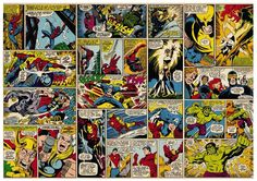 Marvel Comic Heroes Photo Wall Mural 368 x 254 cm