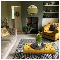 Mustard Living Rooms, Cottage Living Rooms, Living Room Green, New Living Room, Living Room Interior, Cozy Grey Living Room, Living Room Decor Colors, Living Room Color Schemes, Room Colors