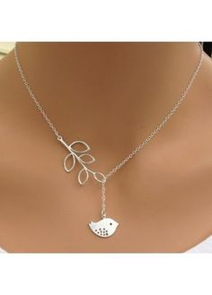 Leaves and Bird Shape Design Silver Metal Necklace on sale only US$5.32 now…