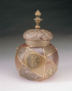 Royal Flemish Covered Jar With Finial - Decorated with Portrait Medalions and Background in Brown, Tan, and Satin Grey - 11 inch HOA 7 inch DOA
