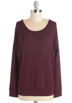 Sass More Like It Top. Find the cozy-with-an-edge style you adore in this heather-burgundy pullover. #red #modcloth