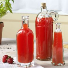 Strawberry-Basil Vinegar Recipe-- strawberry basil combination is AWESOME- I make smoothies with strawberries, basil, water, ice and a squeeze of lemon in the summer- delicious!
