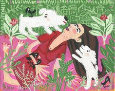 White Dog with Girl n Crow Art Painting  Original Whimsical