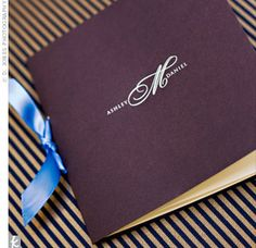 Ashley and Dan's monogram embellished the front of the book-style programs tied with the same ribbon used for the invitations, favors and cake.