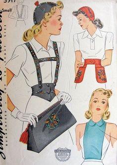 1940s CALOT HAT BAG BELT PATTERN SUSPENDERS and GIRDLE BELT, BELT WITH POCKETS SIMPLICITY 3917 Vintage Sewing Pattern