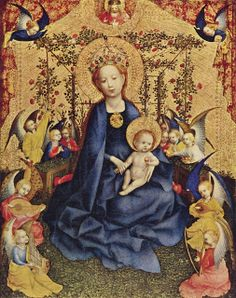 Stefan Lochner (1410-1451) ~ Madonna of the Rose Bower ~ ca.1440 ~ Wallraf-Richartz Museum, Cologne ~Lochner, a German painter working in the late International Gothic style who produced single panel paintings, triptychs and illuminated manuscripts. He was long known by the name of convenience The Dombild Master ~ active in Cologne ~  Albrecht Dürer; an artist who held Lochner in great esteem, and whose diary entry was key in eventual establishing Locher's identity.