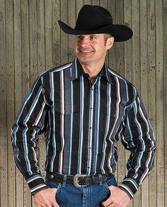 Black, Gray & Blue Striped Brushpopper Long Sleeve Shirt, water resistant, wind resistant, Western work shirt, toughest work clothes, workwear, work wear
