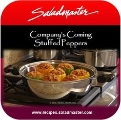 Stuffed Peppers | #Saladmaster #Recipes |  For more #Braiser Pan dinner ideas, check out www.recipes.saladmaster.com  #316ti #Titanium #StainlessSteel #Cookware #LifetimeWarranty
