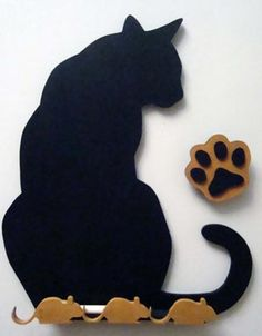 SLD388 - Kitty Silhouette Chalkboard and Eraser