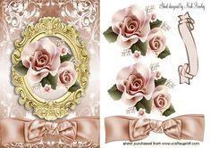 PRETTY PEACH ROSES IN GOLD ORNATE FRAME on Craftsuprint - Add To Basket!