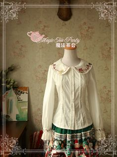 Sweet Christmas Embroidered Peter Pan Collar Long Sleeve Blouse for Women by Magic Tea Party