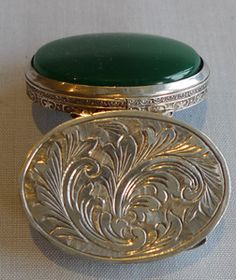 Antique silver and green nephrite pill box.