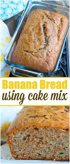 This 4 ingredient banana bread using cake mix is a great breakfast, dessert or snack! A quick banana bread recipe using overripe bananas we love bananabread cakemix breakfast quickbread via is - Spice Cake Mix Recipes, Recipes Using Cake Mix, Cake Mix Desserts, Easy Bread Recipes, Banana Bread Recipes, 4 Ingredient Banana Bread Recipe, Cake Recipes, 4 Ingredient Recipes, Flour Recipes