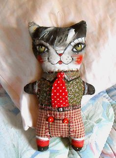 Original Art doll . Kitty cat with red tie. Folk art. by miliaart, $29.00