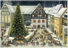 From Brück and Sohn (Printers in Meissen, Germany since a charming Advent Calendar of the Christmas market in Jena. Art by A. Gotz, This delightful advent calendar is x German Christmas, Christmas Art, Vintage Christmas, Christmas Markets, Christmas Stuff, Christmas 2019, Xmas, Jena, Label Paper