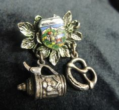 Vintage Brooch Pin Antique Enamel Travel Souvenir Neuschwanstein German Bavaria Stein Beer Pretzel Shield