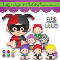 Instant Download Printable Cliparts Clip Arts Digital PDF PNG File Scrapbooking kit - Superhero Villain Baby Boys Girls 7 by clipartsuperstore on Etsy
