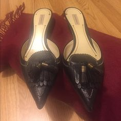 Authentic Burberry kitten heels Burberry 1-inch kitten heels. Black leather. Rarely worn. No shoe box. Size 39. In very good condition. Burberry Shoes Heels