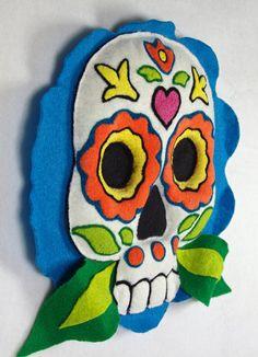 OOAK Needle Felt Plush  Daisy Flower Sugar Skull by FeltedChicken,