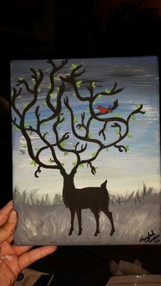 Forever Around acrylic painting of deer silhouette with red cardinal on a 8x10 stretched canvas.  By: Nichole Turpin ♡