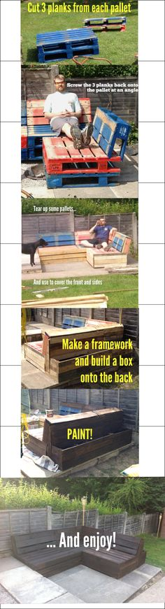 Here is a brief explanation of how I built my pallet furniture. It took about 9 pallets altogether. I'm sorry that the picture isn't edited very well. | Duidelijke uitleg hoe je van pallets een loungebank kunt maken
