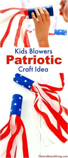 of July Craft Idea Patriotic Kids Blower is part of Kids Crafts For Summer - of July Craft Idea Patriotic Kids Blower, Patriotic Craft Ideas, Paper Tube Craft, Summer craft and perfect party idea for kids, Fun July Kids Craft Daycare Crafts, Toddler Crafts, Preschool Crafts, Kids Crafts, Summer Crafts For Preschoolers, Baby Crafts, Family Crafts, Daycare Ideas, Kindergarten Crafts Summer