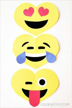 Emoji Valentines Best Valentine's Day Crafts for Kids Middle schoolers are obsessed with these emoji valentines. Let your kid start the trend at her school! Check out the full instructions and print the cutouts for this craft at housingaforest.com. Shop the supplies: 1. Darice Core'dinations Value Pack Card Stock, $12, amazon.com 2. Elmer's Washable Glue Sticks Disappearing Purple, $3, target.com 3. Craft Scissors, $12, target.com
