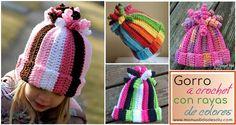 Gorro a crochet con rayas de colores