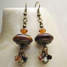 Lampwork Beaded Earrings Antique Brass Bronze Swarovski Crystals Boho Jewelry  'Bohemian Nights'. $30.00, via Etsy.