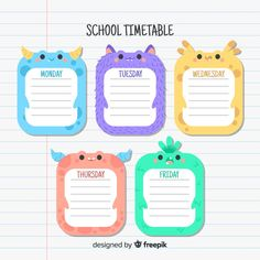 Design Plat, Flat Design, Name Tag For School, Back To School, Math 4 Kids, Timetable Template, School Timetable, Schedule Design, School Clipart