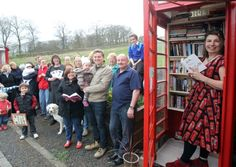 The new community library - a telephone kiosk in the village of Booth, near Luddenden.