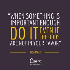 When something is important enough DO IT even if the odds are not in your favor. - Elon Musk via #quote of the day.