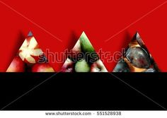 #Autumn #fruits like #apples, #pears and #plums inside three #triangles with shadow behind, on two-tone background, namely red and black