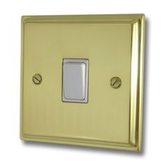A Deco Polished Brass Light Switch Gang/White Switch) available to buy online now at Socket Store British Standards, Polished Brass, Deco, Decoration, Deko, Decor, Dekoration, Interiors, Dekorasyon