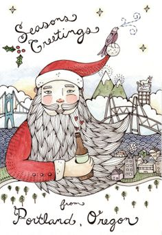 Seasons Greetings from Portland Card Pack of 8 by thelittlecanoe, $20.00