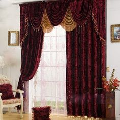 High-end Velvet Burgundy Blackout and Thermal Luxury Curtains