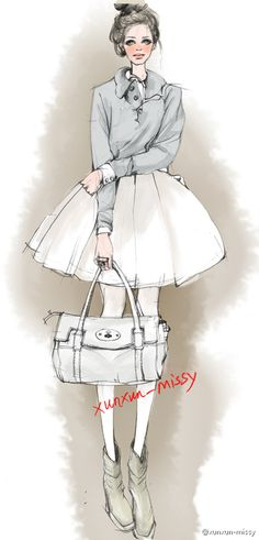 Kind of a school girl ;Fashion Illustration