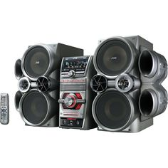With its high tech, super futuristic style you won't know whether to connect it to your TV or climb in and fly to space. The JVC Mini System Boombox plays DVDs, Mini System, Shelf System, Boombox, Home Speakers, Dvd, Bass, Amazon, Takeshi's Castle, Theater
