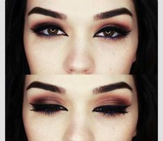 Brown makeup with blue eyeliner