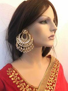 Big heavy kundan earring Punjabi Suits, Big, Earrings, Jewelry, Fashion, Ear Rings, Moda, Stud Earrings, Jewels