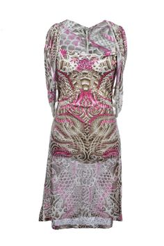 #JeanPaulGaultier | Bedrucktes #Kleid aus leichter Seide, Gr. M | Jean Paul Gaultier | mymint-shop.com | Ihr Online Shop für Secondhand / #Vintage #dress #Designerkleidung & Accessoires bis zu -90% vom Neupreis das ganze Jahr #mymint