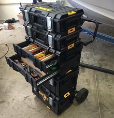 Dewalt Storage, Van Storage, Diy Garage Storage, Tool Storage, Storage Ideas, Garage Tools, Garage Workshop, Dewalt Tough System, Van Organization