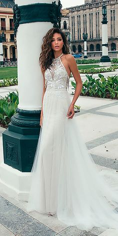10 Wedding Dress Designers You Want To Know About ❤ wedding dress designers halter neckline lace straight sleeveless julie vino ❤ See more: http://www.weddingforward.com/wedding-dress-designers/ #weddingforward #wedding #bride
