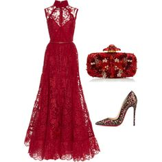 A fashion look from December 2014 featuring Elie Saab gowns, Christian Louboutin pumps and Oscar de la Renta clutches. Browse and shop related looks.