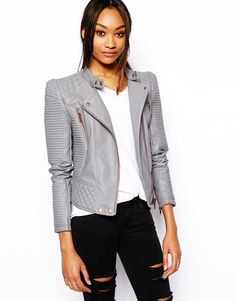 Image 1 of ASOS Leather Look Structured Sleeve Jacket