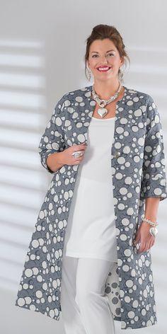 Kasbah denim/cream jacquard long coat