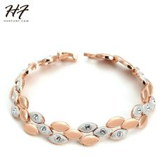 Top Quality H014 Frosting Elliptic Charms Rose Gold Color Bracelet Jewelry Austrian Crystals Wholesale