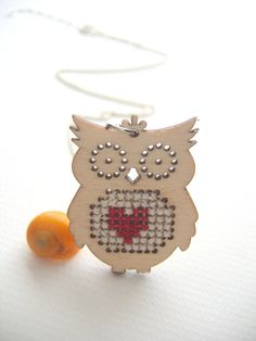 Owl wood necklace animal jewelry cross stitch pendant wood charm  gift (10.00 EUR) by Monikagifts