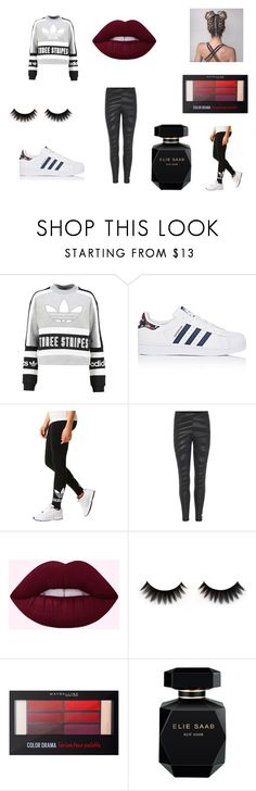 """""""Adidas Wears Lol"""" by alesiaqua ❤ liked on Polyvore featuring adidas Originals, adidas, Maybelline and Elie Saab"""