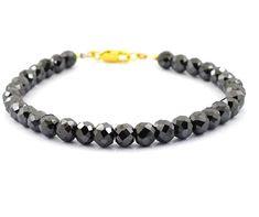 5mm-6mm Rough Black Diamond Beads Bracelet Unisex Bracelet,Custom length and clasp option